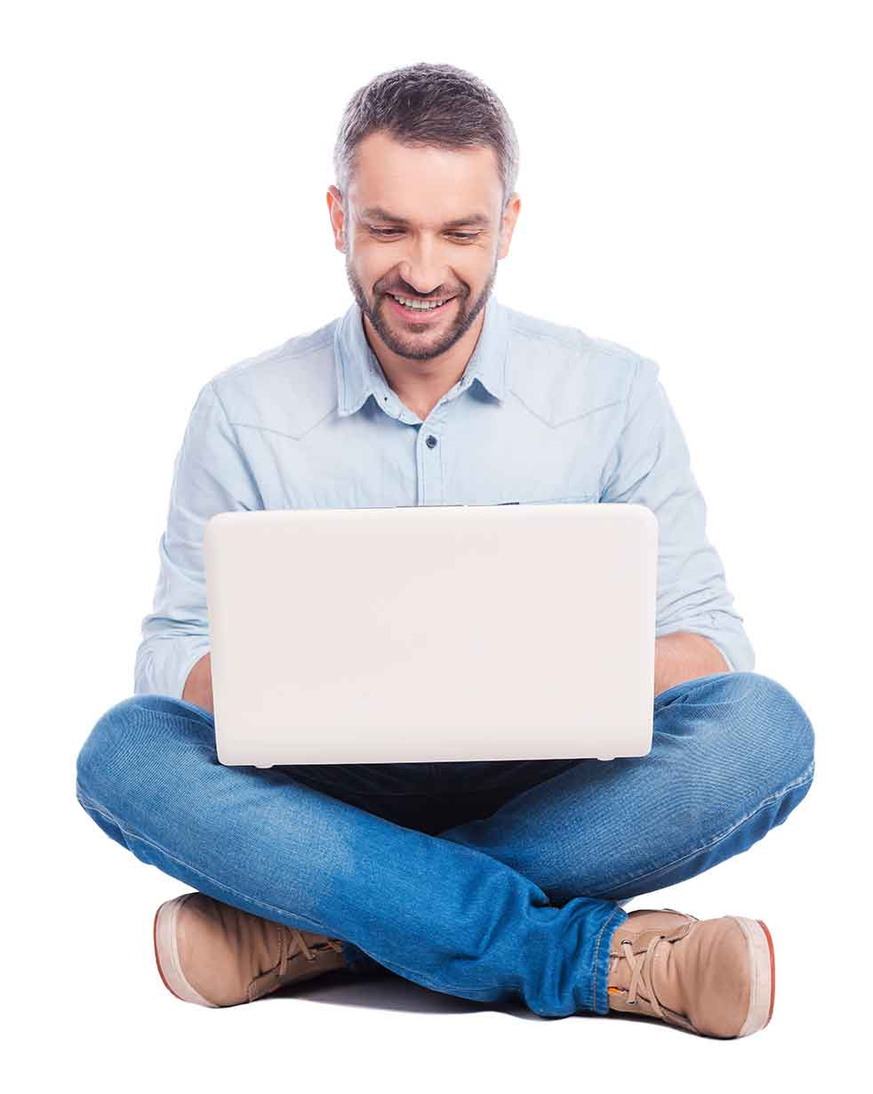 Man on computer answering questions