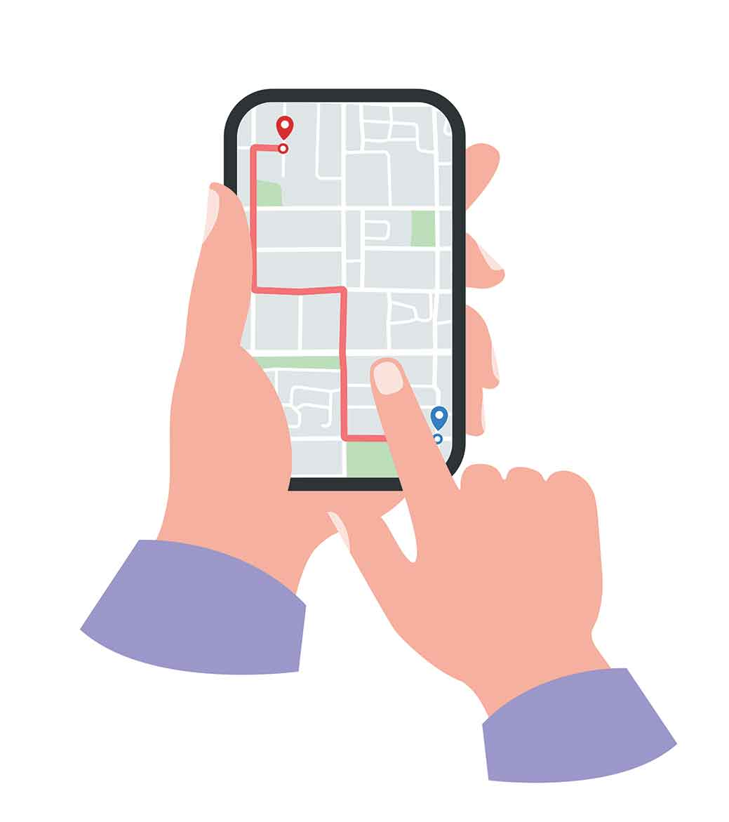 Hands holding iphone with directions